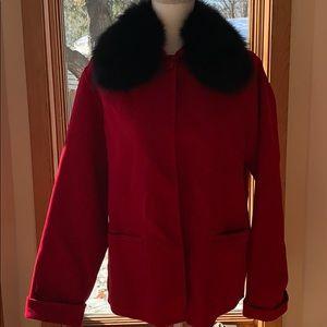 CAROLE LITTLE - Fox Fur Collar Wool Blazer